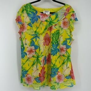Dress you 2 By Sharon Yellow floral blouse 3X
